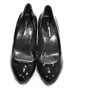 Black Via Spiga wedge shoes
